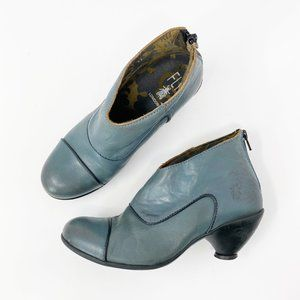Fly London Pewy Sebta Teal Blue Kitten Heel Bootie